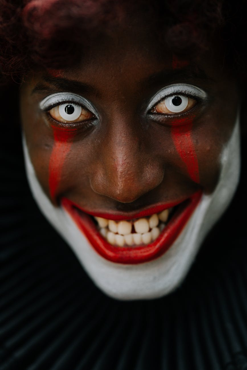 person in creepy clown makeup